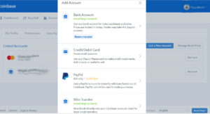 CoinBase Linked Accounts-add account
