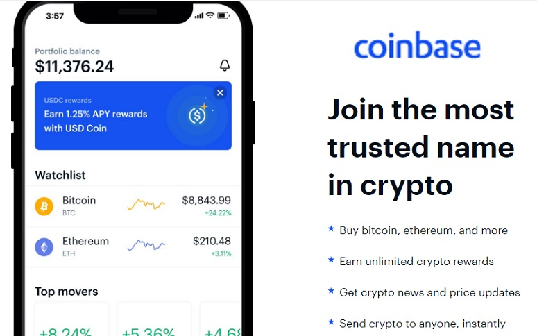 Buy cryptocurrency at Coinbase